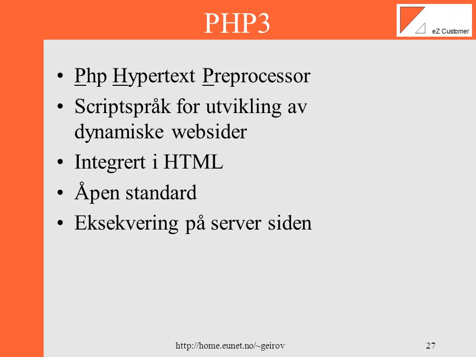 PHP3 Php Hypertext Preprocessor