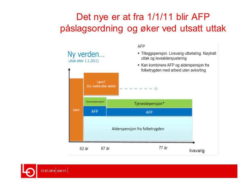 Det nye er at fra 1/1/11 blir AFP påslagsordning og øker ved utsatt uttak