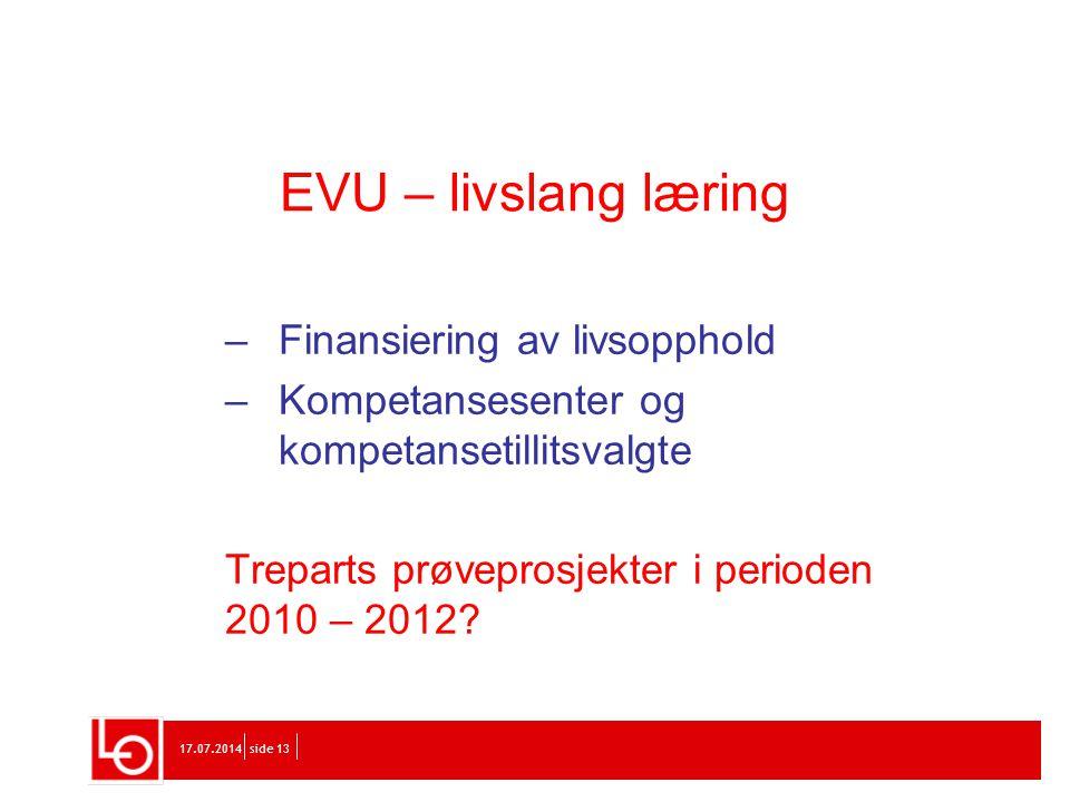 EVU – livslang læring Finansiering av livsopphold
