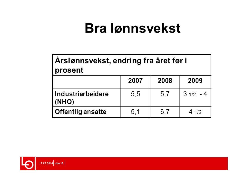 Bra lønnsvekst Årslønnsvekst, endring fra året før i prosent 2007 2008