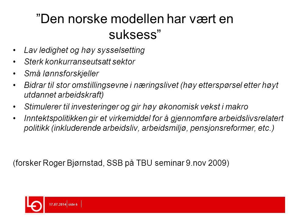 Den norske modellen har vært en suksess