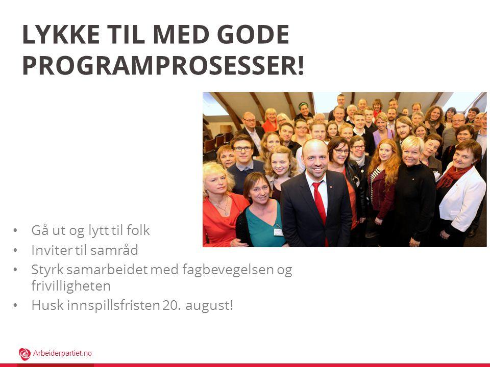 Lykke til med gode programprosesser!