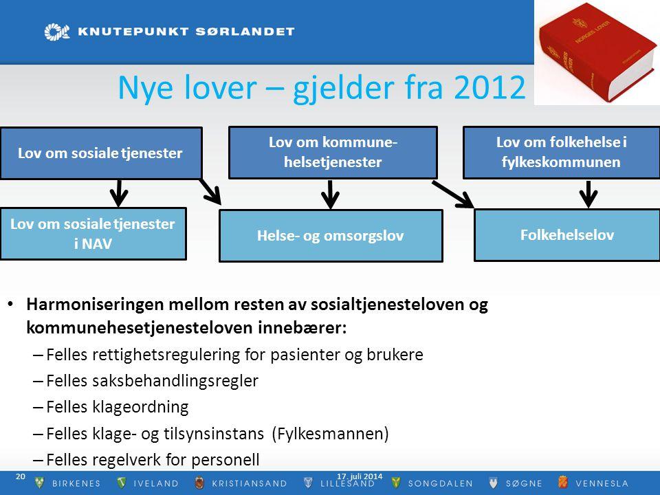 Nye lover – gjelder fra 2012 Lov om sosiale tjenester. Lov om kommune- helsetjenester. Lov om folkehelse i fylkeskommunen.