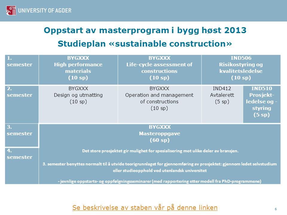 Oppstart av masterprogram i bygg høst 2013 Studieplan «sustainable construction»