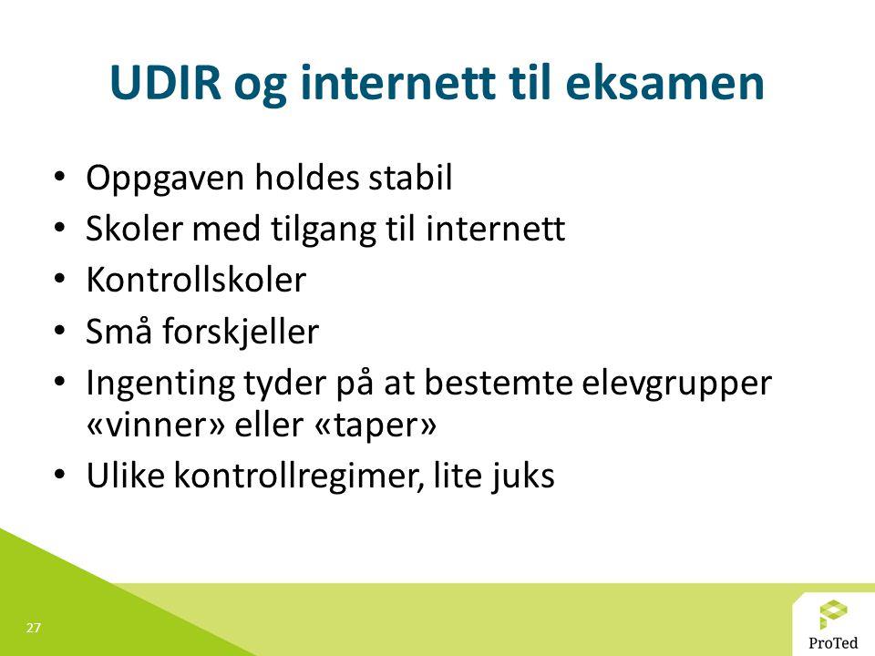UDIR og internett til eksamen