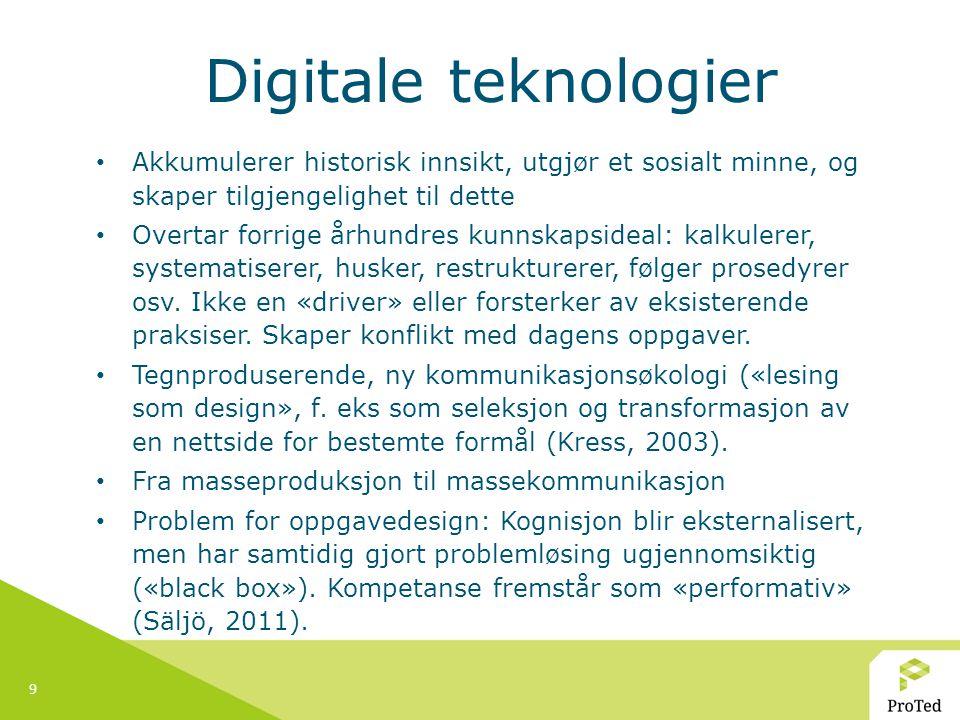 Digitale teknologier Akkumulerer historisk innsikt, utgjør et sosialt minne, og skaper tilgjengelighet til dette.