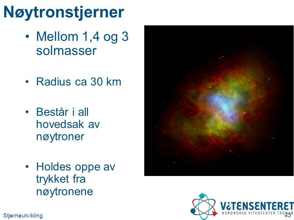 Nøytronstjerner Mellom 1,4 og 3 solmasser Radius ca 30 km