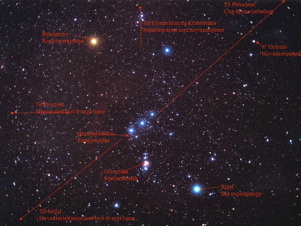 Til Pleiadene Ung åpen stjernehop. Til Tyrens horn og Krabbetåka. Supernovarest med nøytronstjerne.