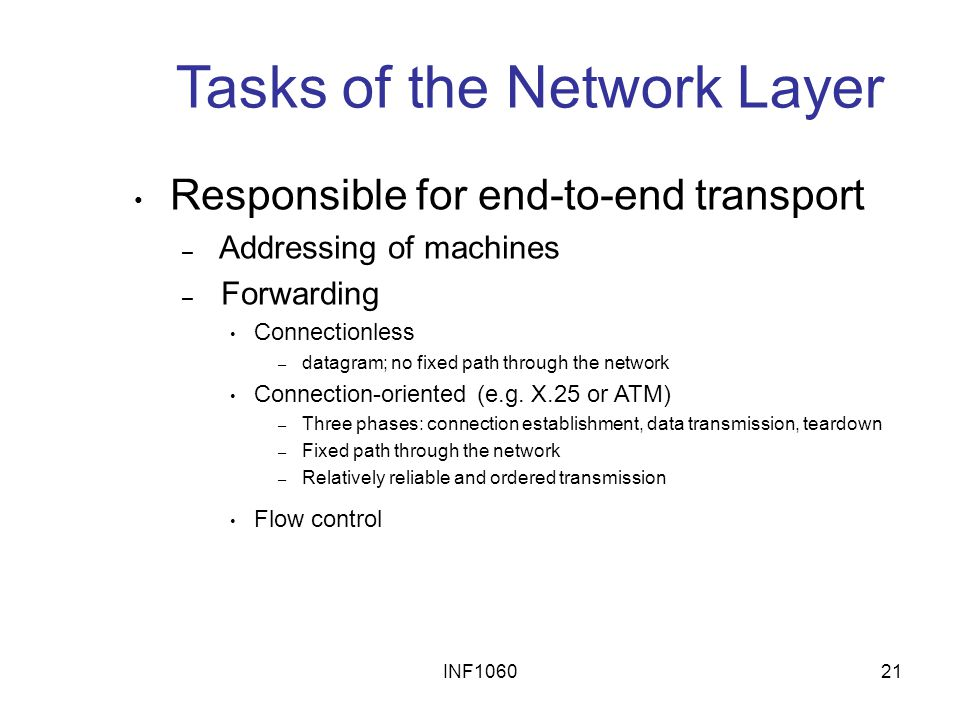 Tasks of the Network Layer