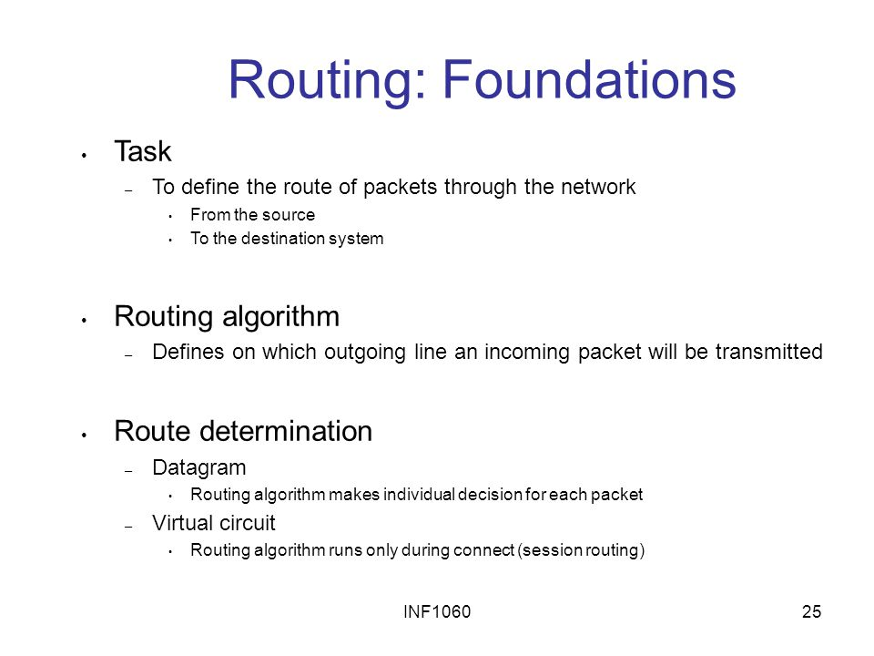 Routing: Foundations Task Routing algorithm Route determination