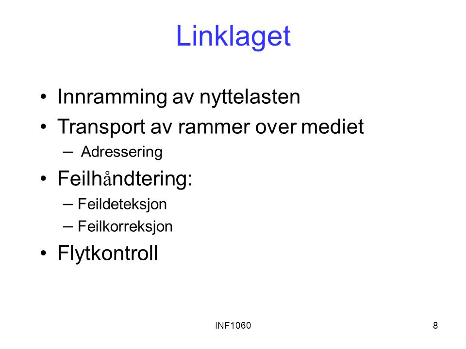 Linklaget Innramming av nyttelasten Transport av rammer over mediet