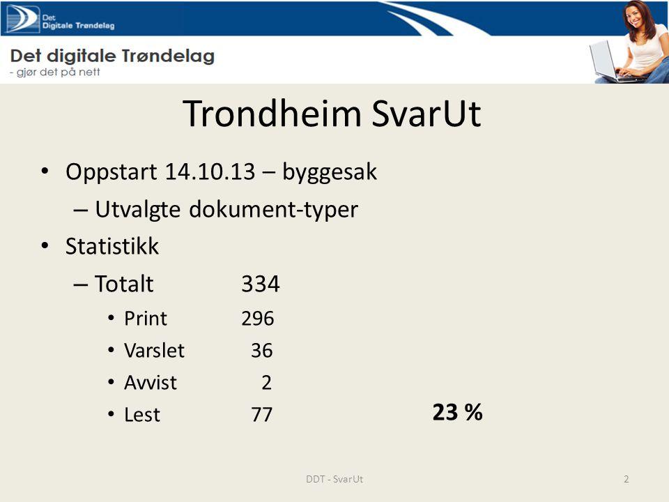 Trondheim SvarUt Oppstart 14.10.13 – byggesak Utvalgte dokument-typer