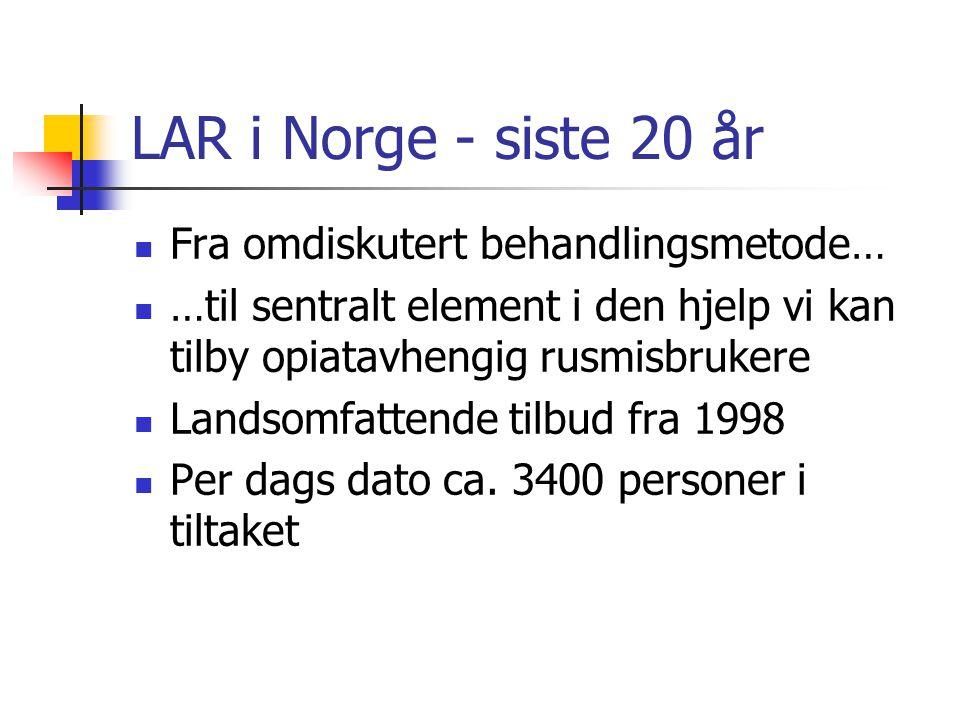 LAR i Norge - siste 20 år Fra omdiskutert behandlingsmetode…