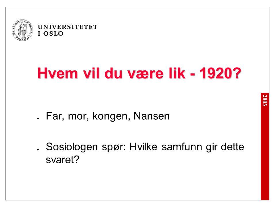 Hvem vil du være lik - 1920 Far, mor, kongen, Nansen