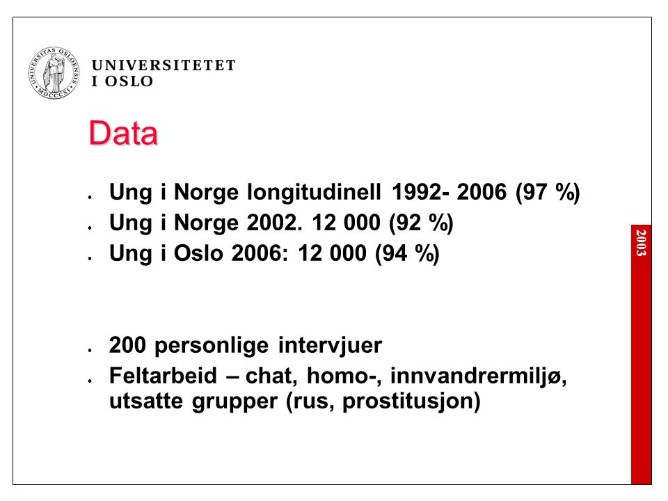 Data Ung i Norge longitudinell 1992- 2006 (97 %)
