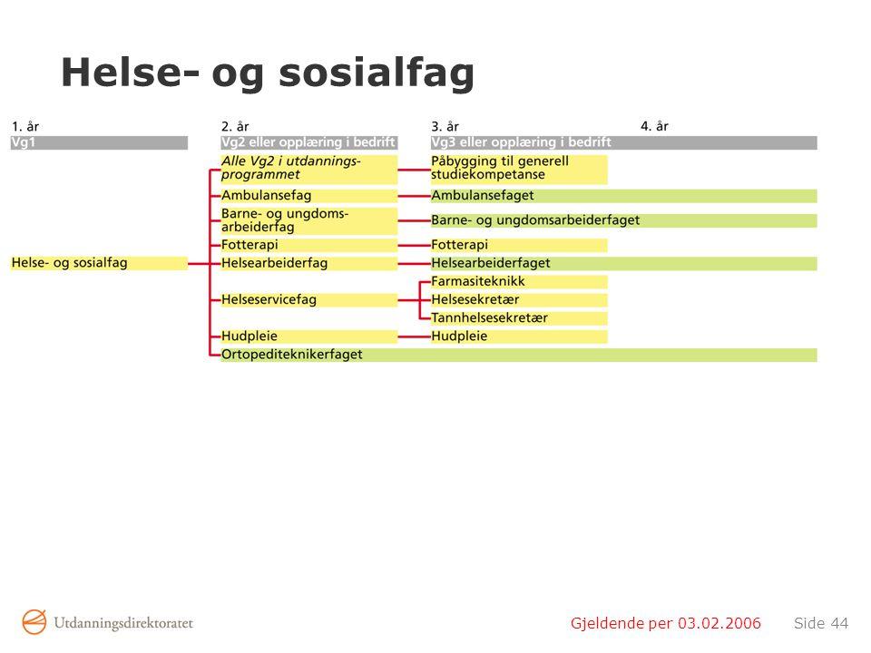 Helse- og sosialfag Gjeldende per 03.02.2006