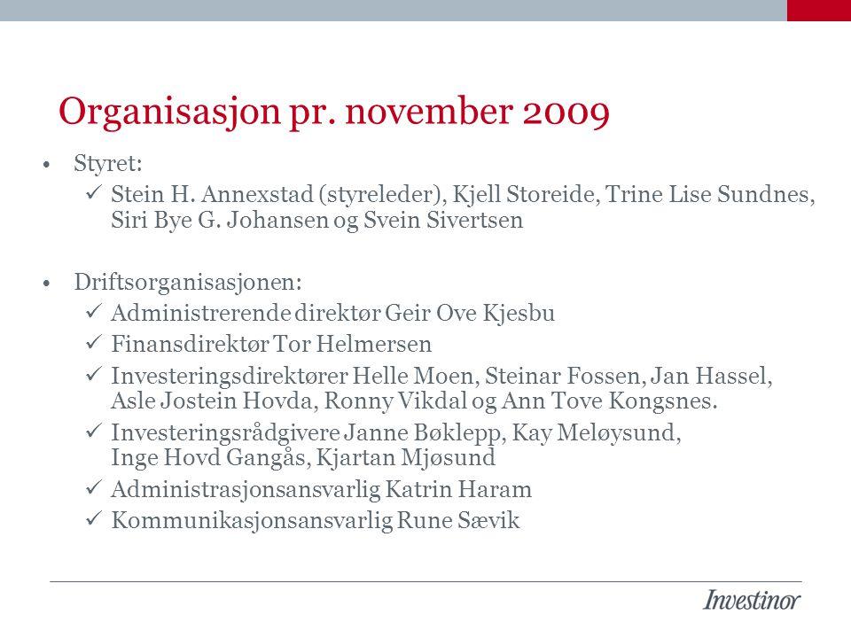 Organisasjon pr. november 2009