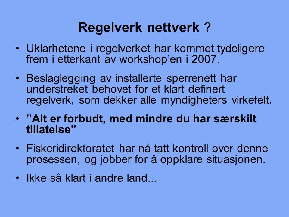 Regelverk nettverk Uklarhetene i regelverket har kommet tydeligere frem i etterkant av workshop'en i 2007.