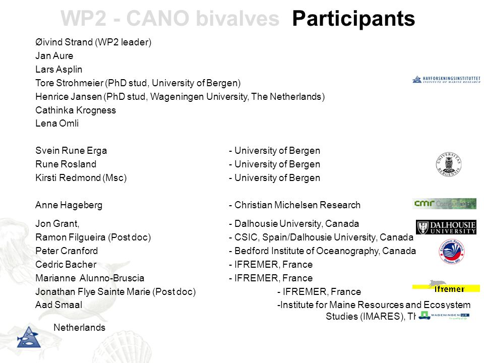 WP2 - CANO bivalves Participants