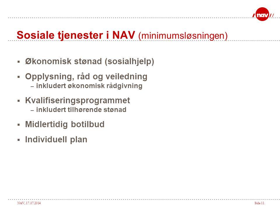 Sosiale tjenester i NAV (minimumsløsningen)