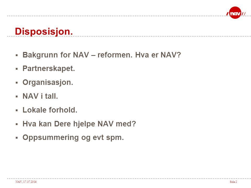 Disposisjon. Bakgrunn for NAV – reformen. Hva er NAV Partnerskapet.