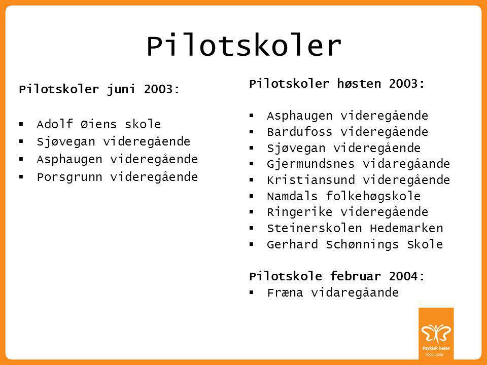 Pilotskoler Pilotskoler høsten 2003: Pilotskoler juni 2003: