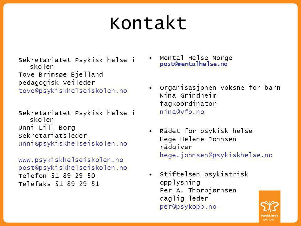 Kontakt Mental Helse Norge post@mentalhelse.no