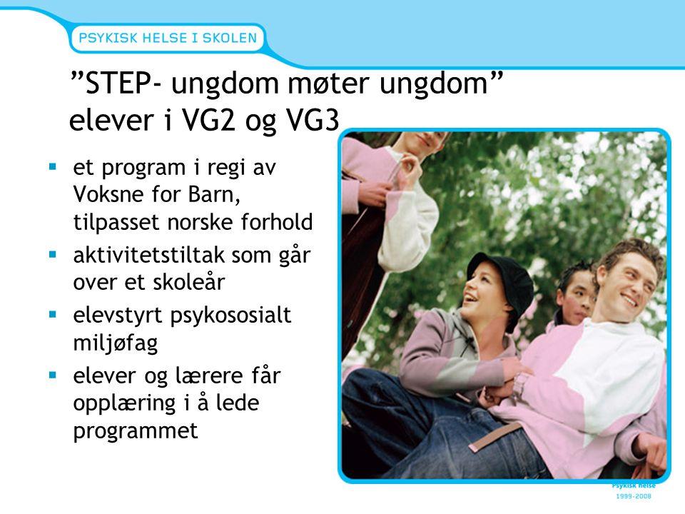 STEP- ungdom møter ungdom elever i VG2 og VG3