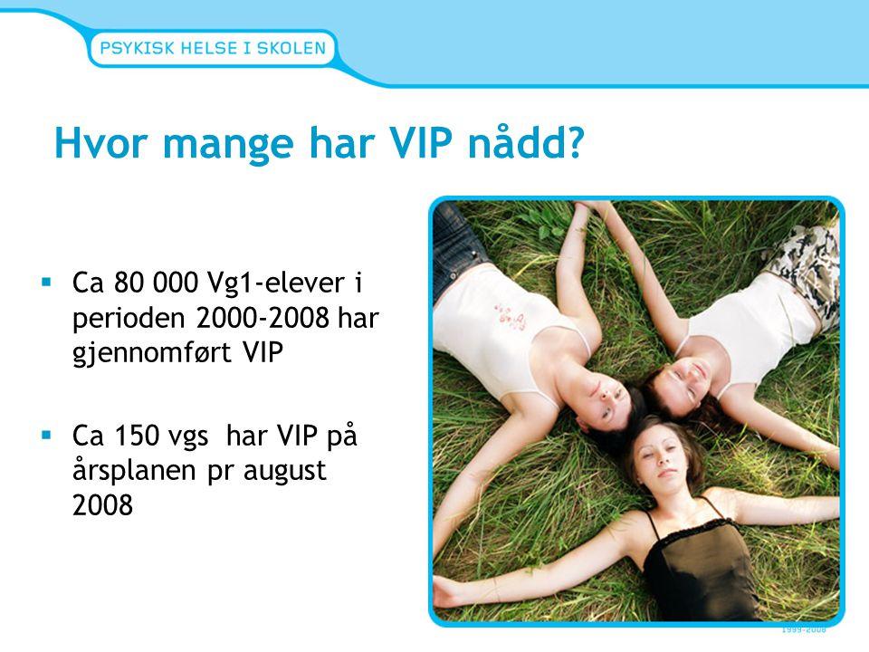 Hvor mange har VIP nådd Ca 80 000 Vg1-elever i perioden 2000-2008 har gjennomført VIP. Ca 150 vgs har VIP på årsplanen pr august 2008.