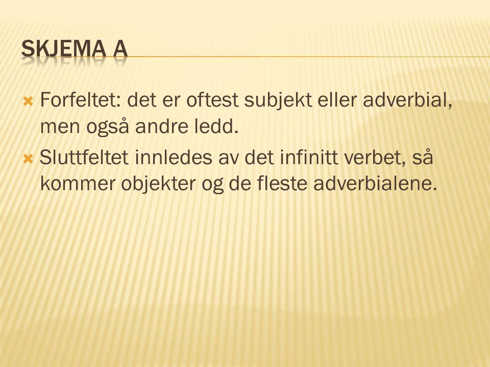 Skjema A Forfeltet: det er oftest subjekt eller adverbial, men også andre ledd.