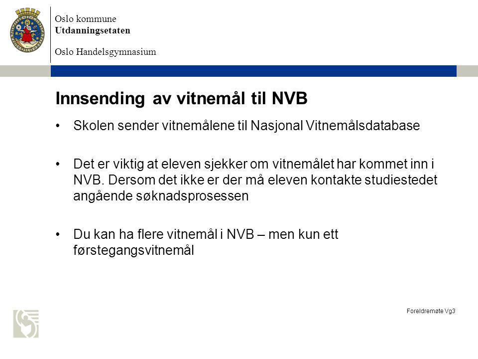 Innsending av vitnemål til NVB