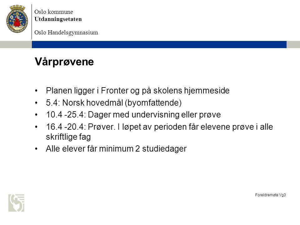 Vårprøvene Planen ligger i Fronter og på skolens hjemmeside