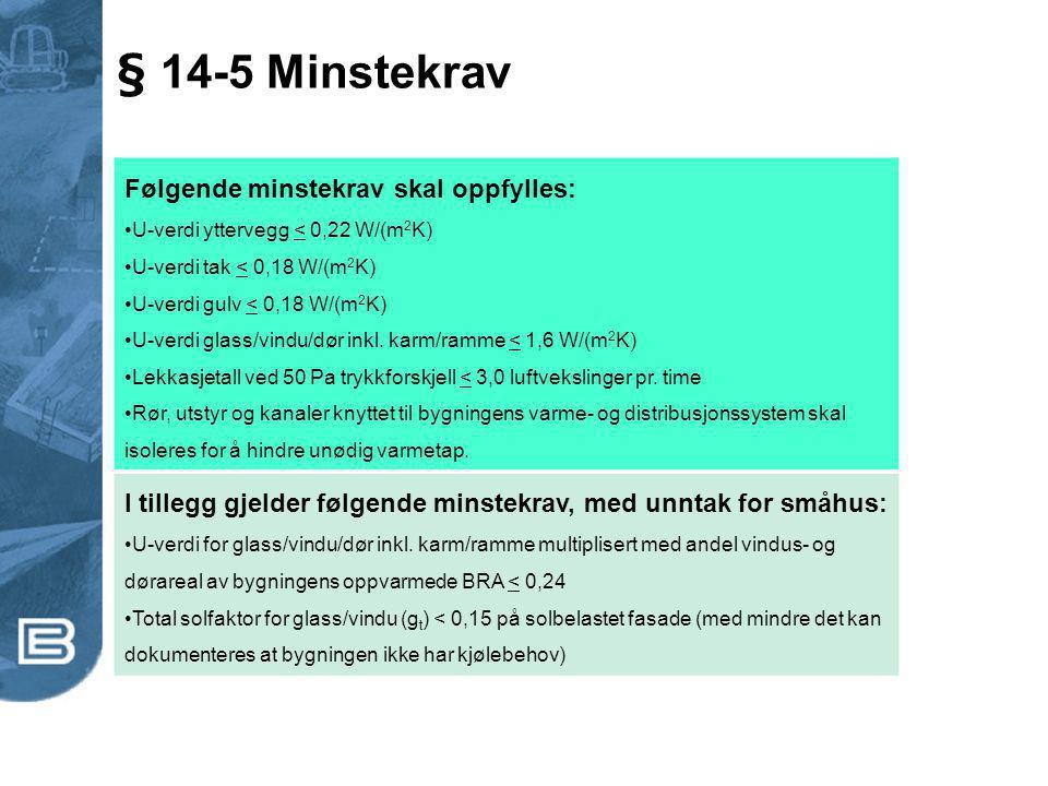 § 14-5 Minstekrav Følgende minstekrav skal oppfylles: