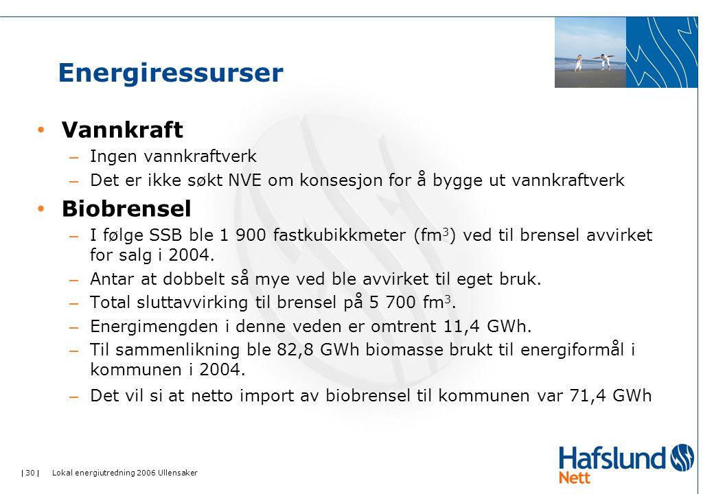 Energiressurser Vannkraft Biobrensel Ingen vannkraftverk