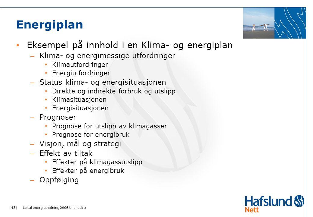 Energiplan Eksempel på innhold i en Klima- og energiplan