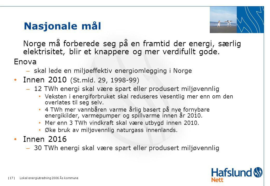 Nasjonale mål Norge må forberede seg på en framtid der energi, særlig elektrisitet, blir et knappere og mer verdifullt gode.