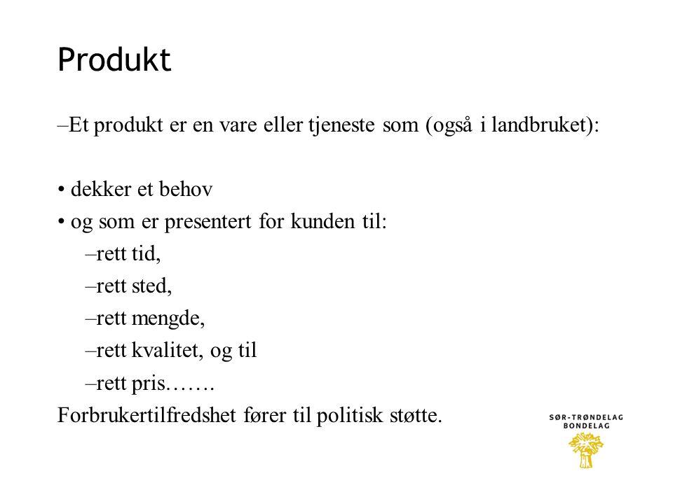 Produkt –Et produkt er en vare eller tjeneste som (også i landbruket):