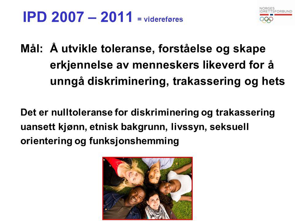 IPD 2007 – 2011 = videreføres Mål: Å utvikle toleranse, forståelse og skape. erkjennelse av menneskers likeverd for å.