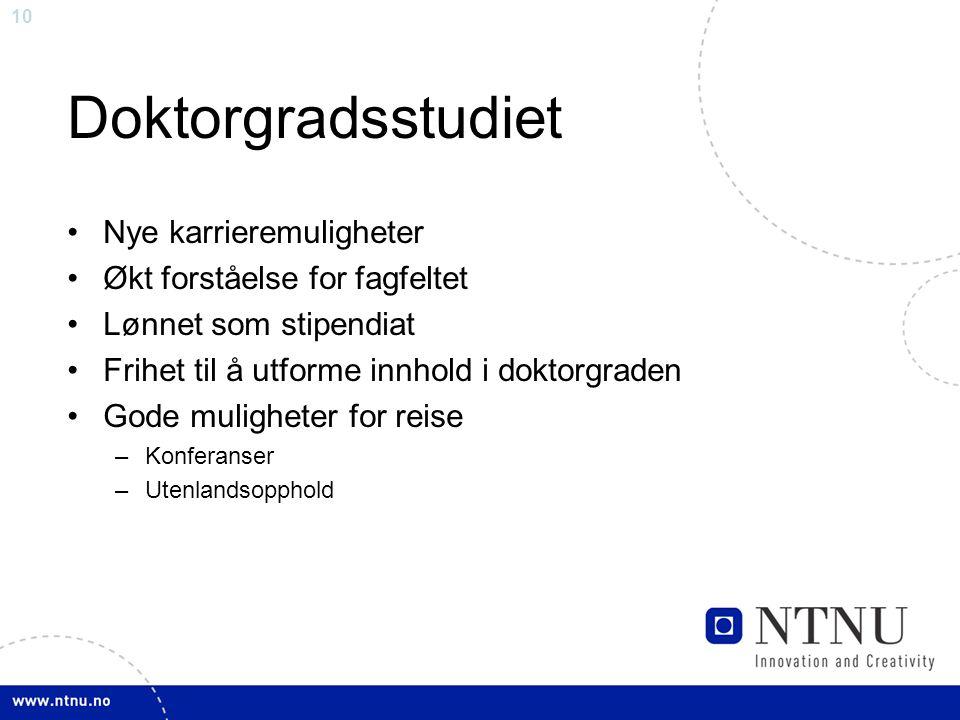 Doktorgradsstudiet Nye karrieremuligheter Økt forståelse for fagfeltet