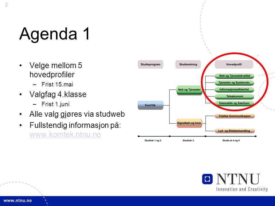 Agenda 1 Velge mellom 5 hovedprofiler Valgfag 4.klasse