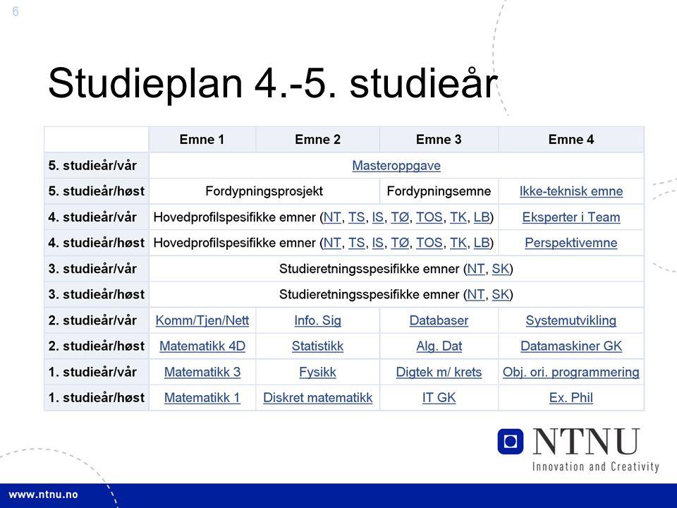 Studieplan 4.-5. studieår