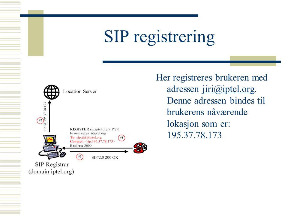 SIP registrering Her registreres brukeren med adressen jiri@iptel.org. Denne adressen bindes til brukerens nåværende lokasjon som er: 195.37.78.173.