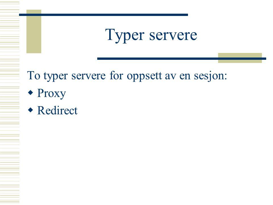 Typer servere To typer servere for oppsett av en sesjon: Proxy