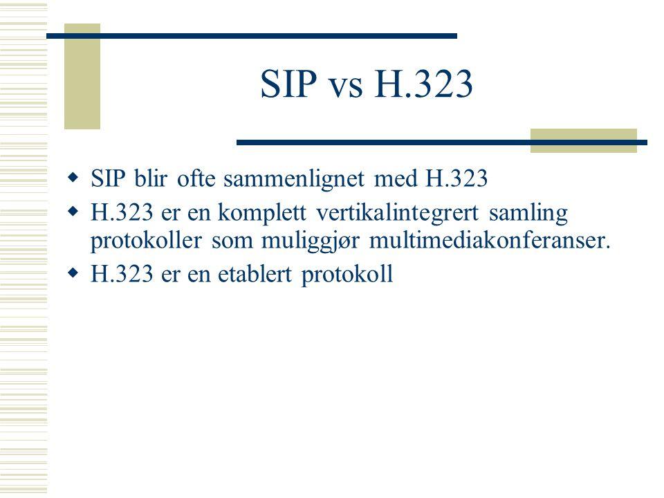 SIP vs H.323 SIP blir ofte sammenlignet med H.323