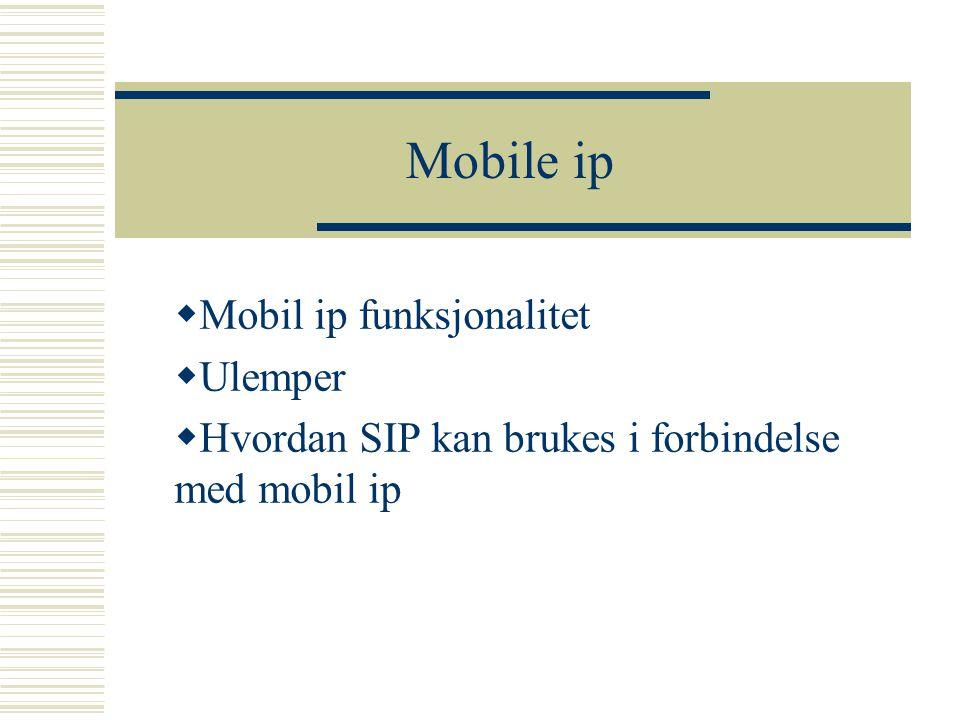 Mobile ip Mobil ip funksjonalitet Ulemper