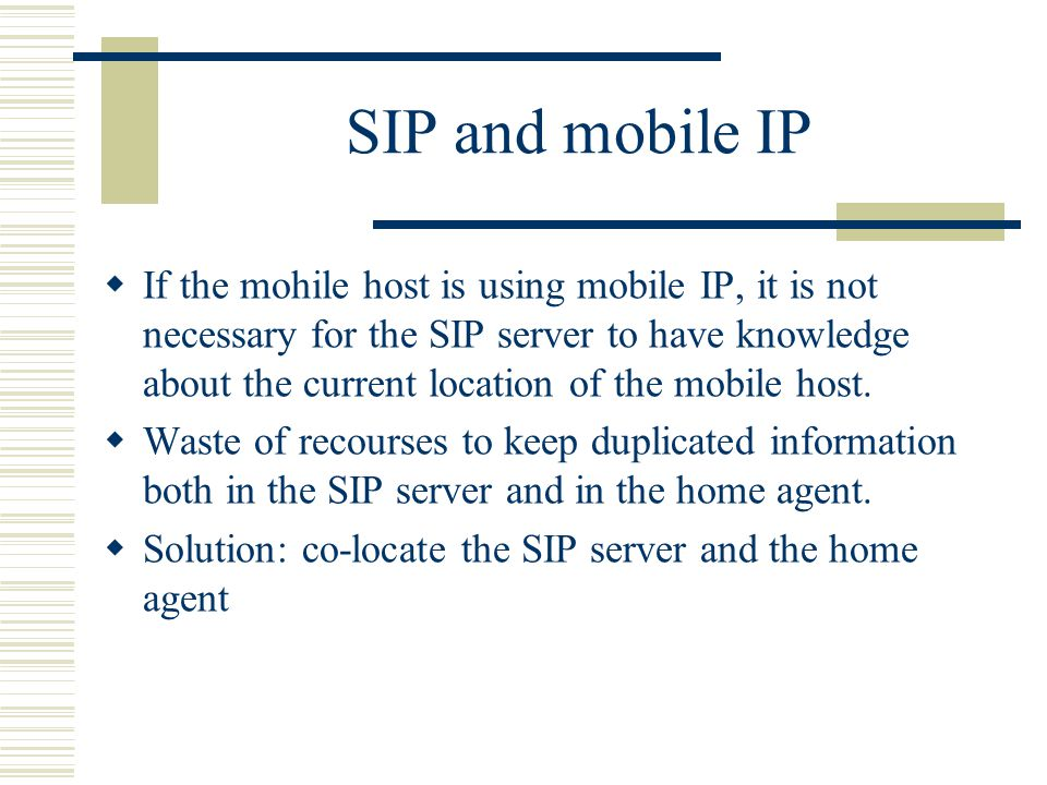 SIP and mobile IP