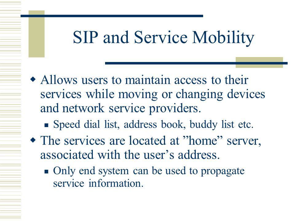 SIP and Service Mobility