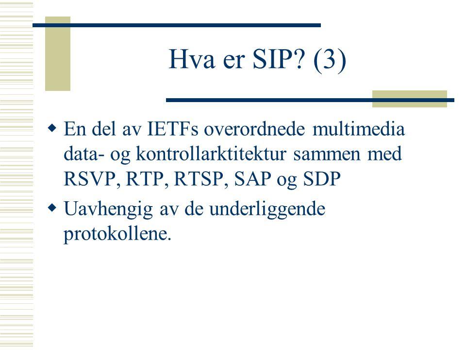 Hva er SIP (3) En del av IETFs overordnede multimedia data- og kontrollarktitektur sammen med RSVP, RTP, RTSP, SAP og SDP.