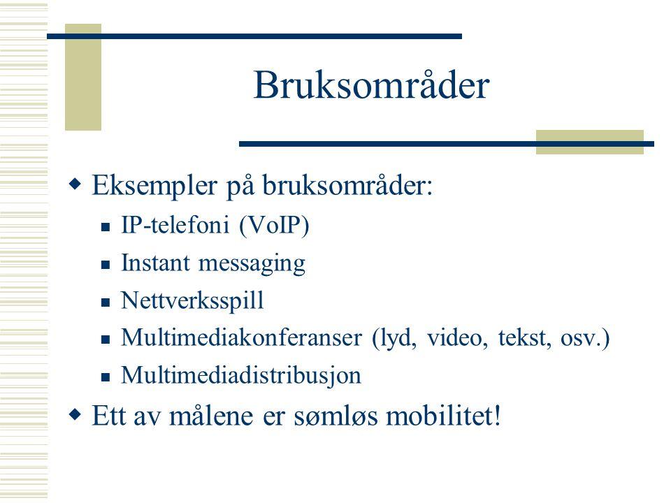 Bruksområder Eksempler på bruksområder: