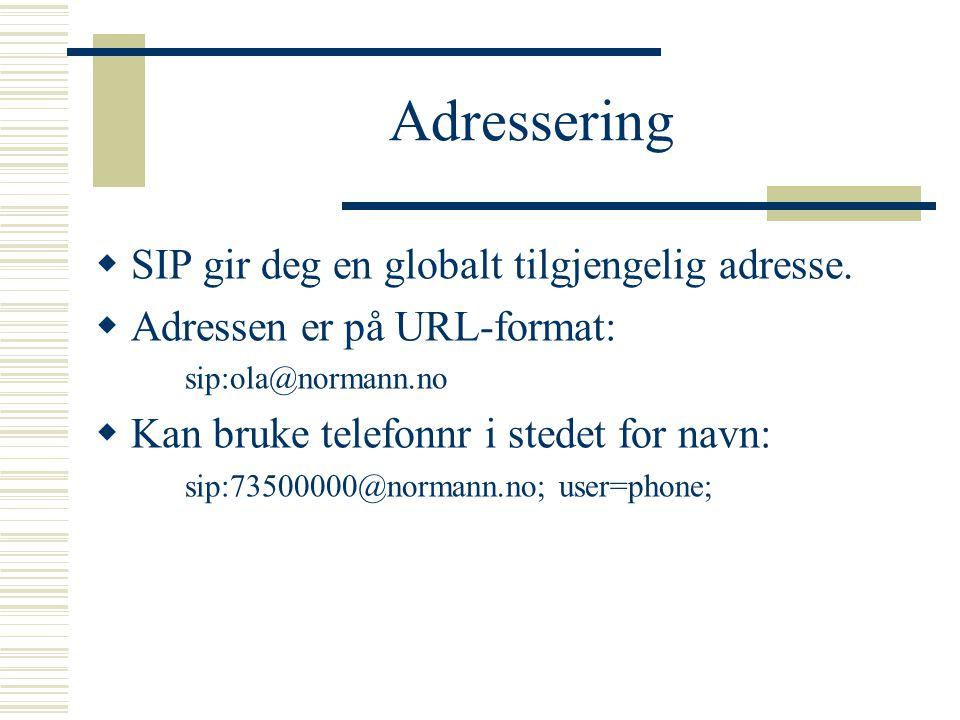 Adressering SIP gir deg en globalt tilgjengelig adresse.